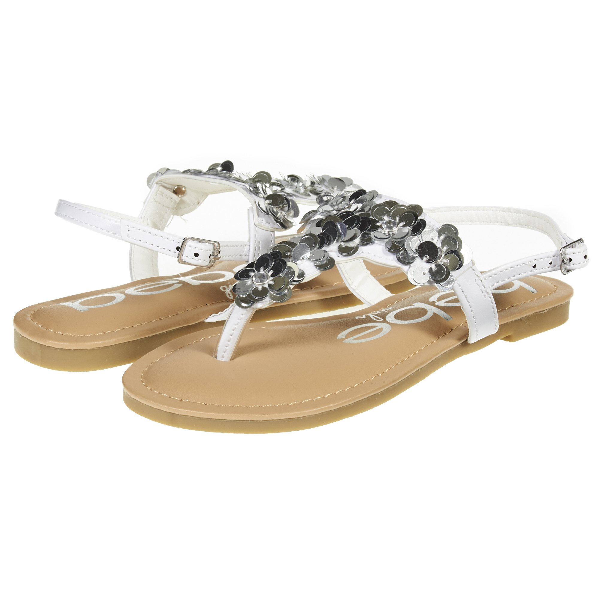 bebe Girls Big Kid Summer Flat Slingback Sandals T Strap Thong Shoes with Flowers Size 11 White/Silver