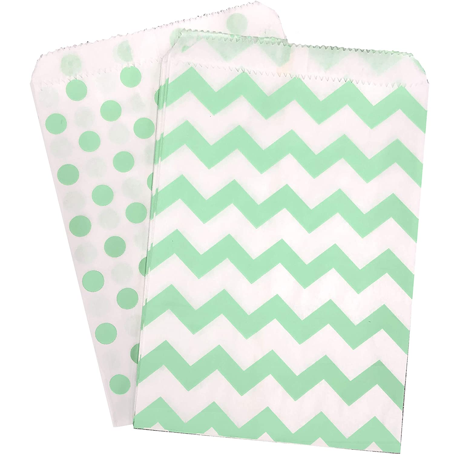 Mint Green and White Paper Treat Sacks - Chevron Polka Dot Favor Bags - 5.5 x 7.5 Inches - 48 Pack