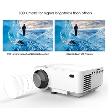 DBPOWER X5 Proyector LCD de 1,800 lúmenes, Proyector multimedia ...