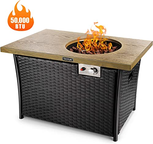 TACKLIFE Propane Fire Pit Table, 41 Inch 50,000 BTU Auto-Ignition Gas Fire Pit Table with Cover, Custom-Made Rattan, Strong Striped Steel Surface, ETL Certification, Ideal for Patio, Garden, Backyard