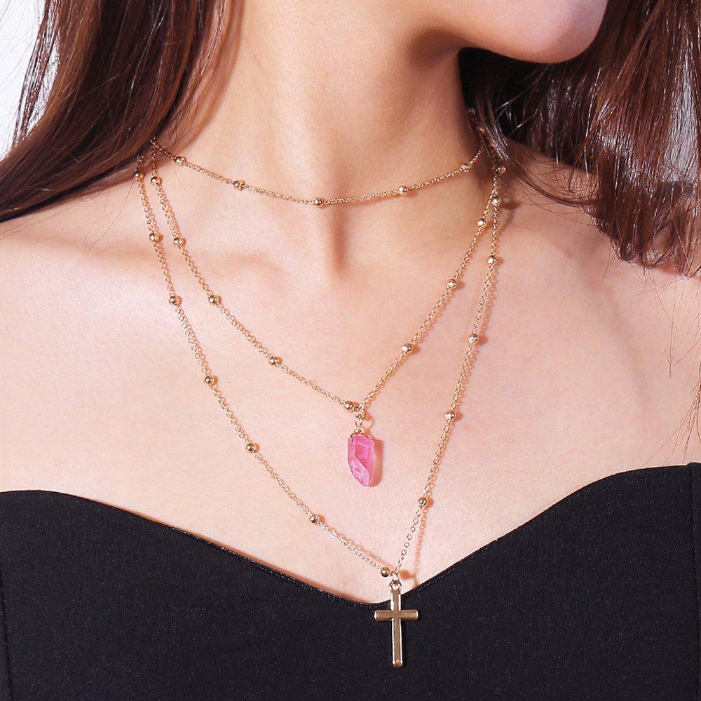 Kercisbeauty irregolare cristallo collana con ciondolo a forma di croce per donne e ragazze, (blu, rosa e verde) fatto a mano unico collana, regalo per lei, party, vita quotidiana, anniversario, compleanno, San Valentino