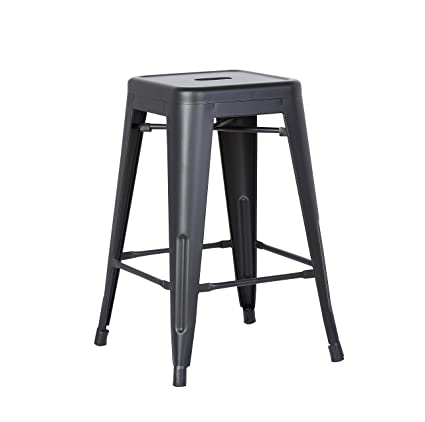 Amazoncom Ac Pacific Backless Metal Barstool Matte Black 24
