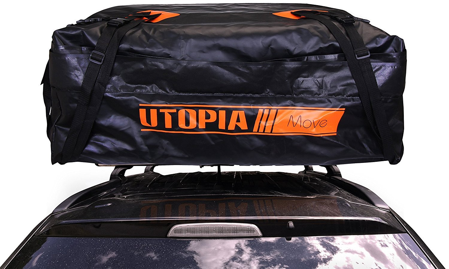 Utopia Bedding Waterproof Cargo Storage Rooftop Bag - On Top of Car Bag - Tarpaulin Material - Soft Sided Design - PP Webbing with Plastic Buckle - Secure Zipper Pullers - Fit for Outdoor