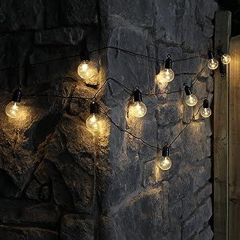 Guirlande Lumineuse Guinguette 10 Ampoules Opaques à Led éclairage Blanc Chaud Sur Câble Noir Intérieur Extérieur Waterproof à Piles 4 50 Mètres