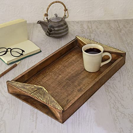 Wooden Breakfast Serving Tray Platter 15 x 10 with Handle for Tea Snack DessertTree of Life Carving Kitchen Dining Serveware Accessories
