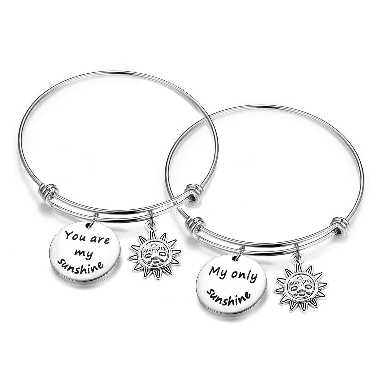 SEIRAA You Are My Sunshine My Only Sunshine Bracelet for Women Girl Inspirational Gift for Her (Sunshine bracelet set)