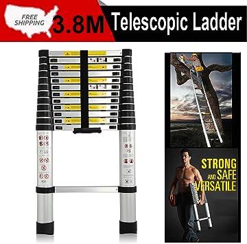 Escalera telescópica compacta de aluminio portátil de 3,8 m, escalera telescópica plegable con separadores de protección de dedos para el hogar o la oficina, certificación EN131, capacidad de 150 kg: Amazon.es: Bricolaje