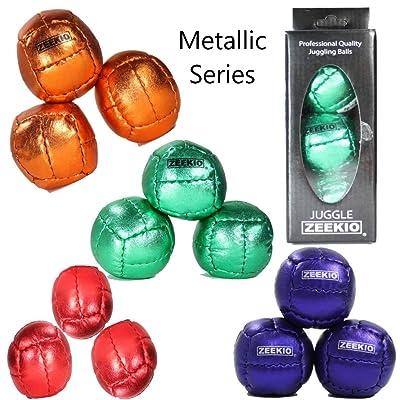 Zeekio Galaxy Juggling Ball Set - Metallic Series - 12 Panel Leather Balls, 130g, 62mm - (3) Juggling Balls (Metallic Red): Toys & Games