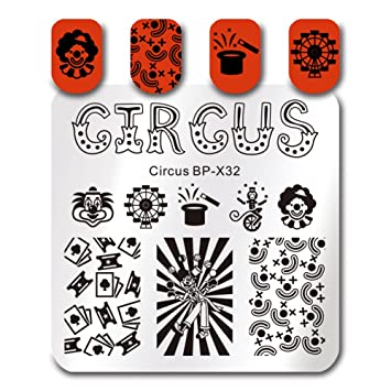 Amazon Born Pretty Square Nail Art Stamp Template Circus Design