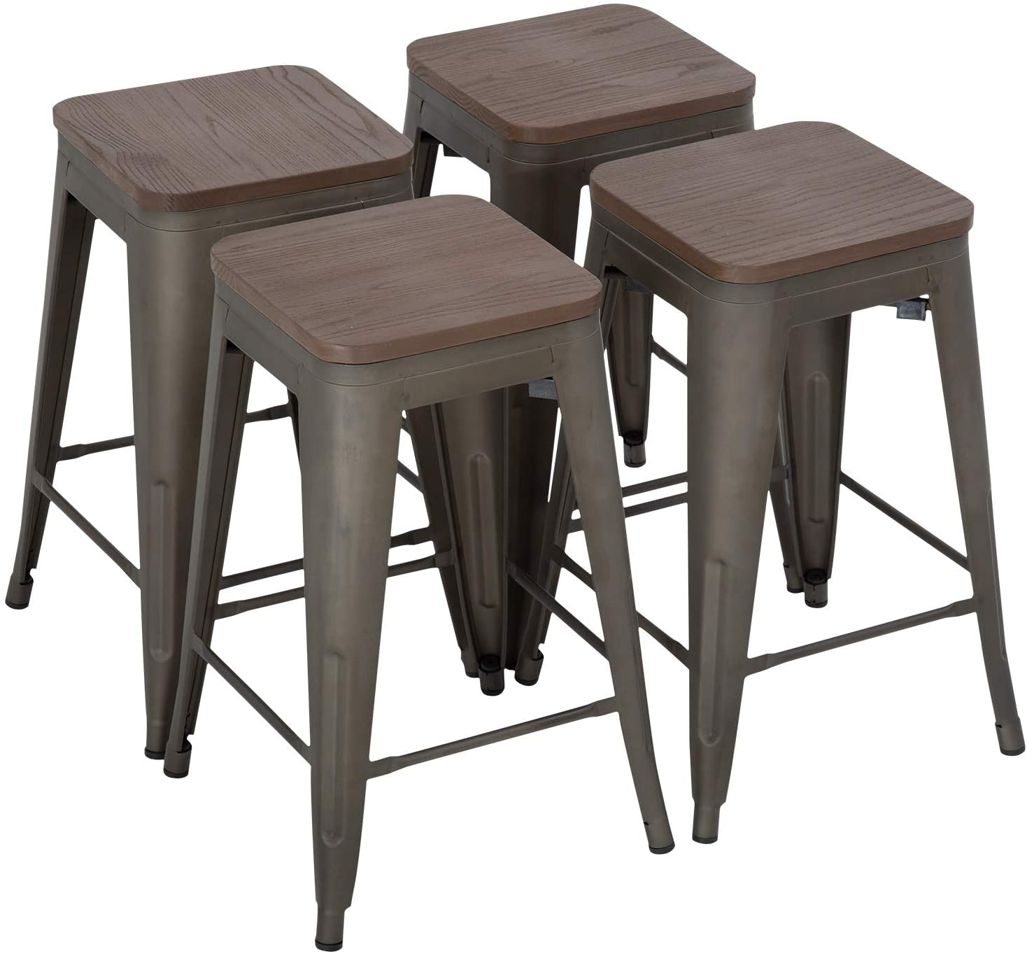 FDW 24 Inches Metal Bar Stools Set of 4 Counter Height Wood Seat Barstool Patio Stool Stackable Backless Stool Indoor Outdoor Metal Kitchen Stools Bar Chairs (Bronze)