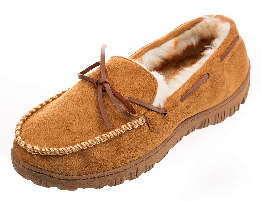 MIXIN Men's Microsuede Vamp and Rubber Sole Indoor Outdoor Moccasin Flat Slipper Shoes Light Brown with White Suture line US 8