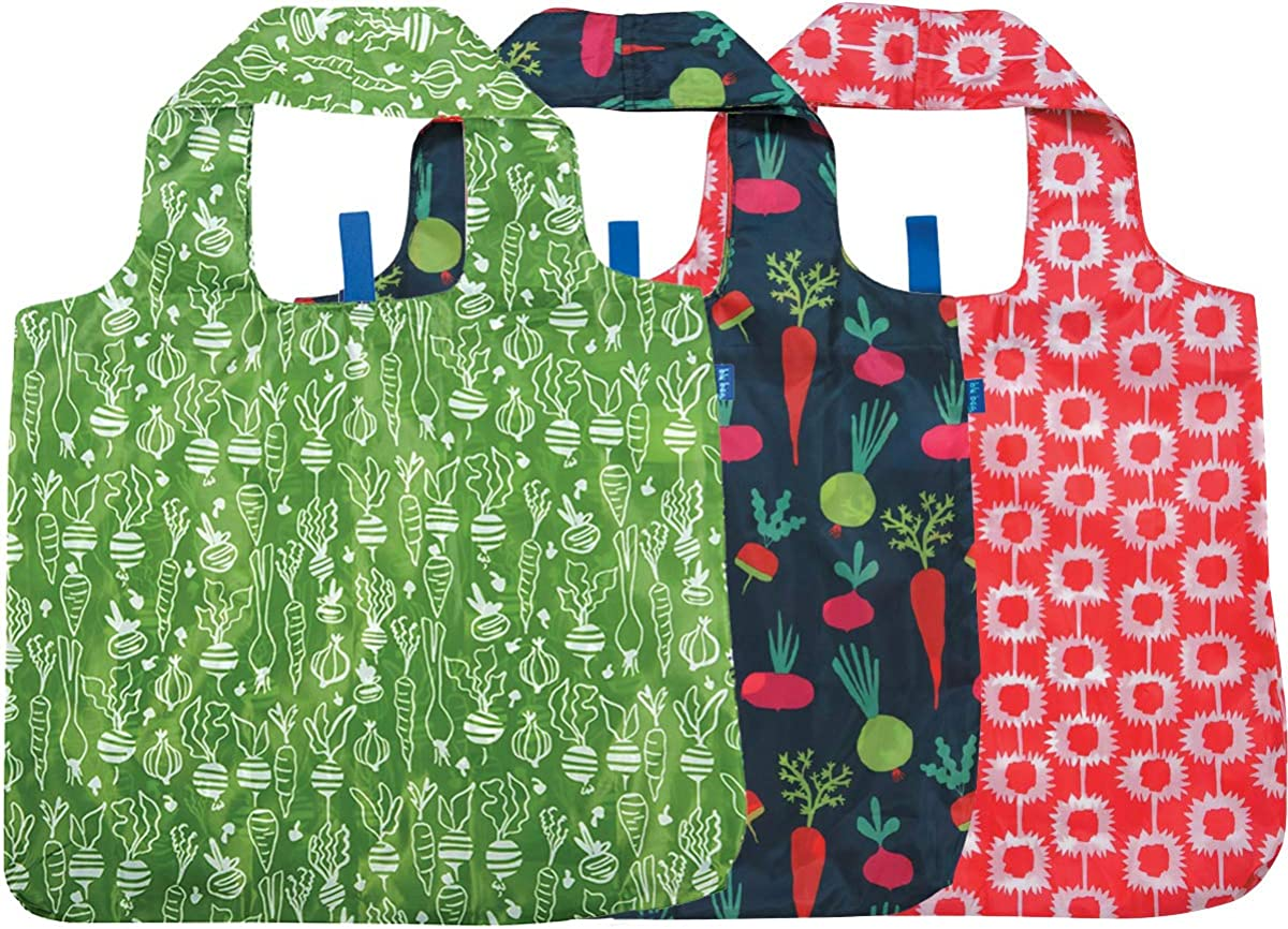rockflowerpaper Farmer's Market Navy Veggies Red Fruit Printed Blu Bag Pack of 3 Reusable Grocery Shopping Bag, Eco-friendly Convenient Machine Washable Everyday Totes