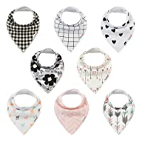 ALVABABY Bandana Drool Bibs Resuable Washable Adjustable 8 Pack of Drooling Teething Feeding,Super Absorbent 100% Cotton Bandana Bibs For Boys and Girls Newborn Infant Toddler Baby Gifts SKX07