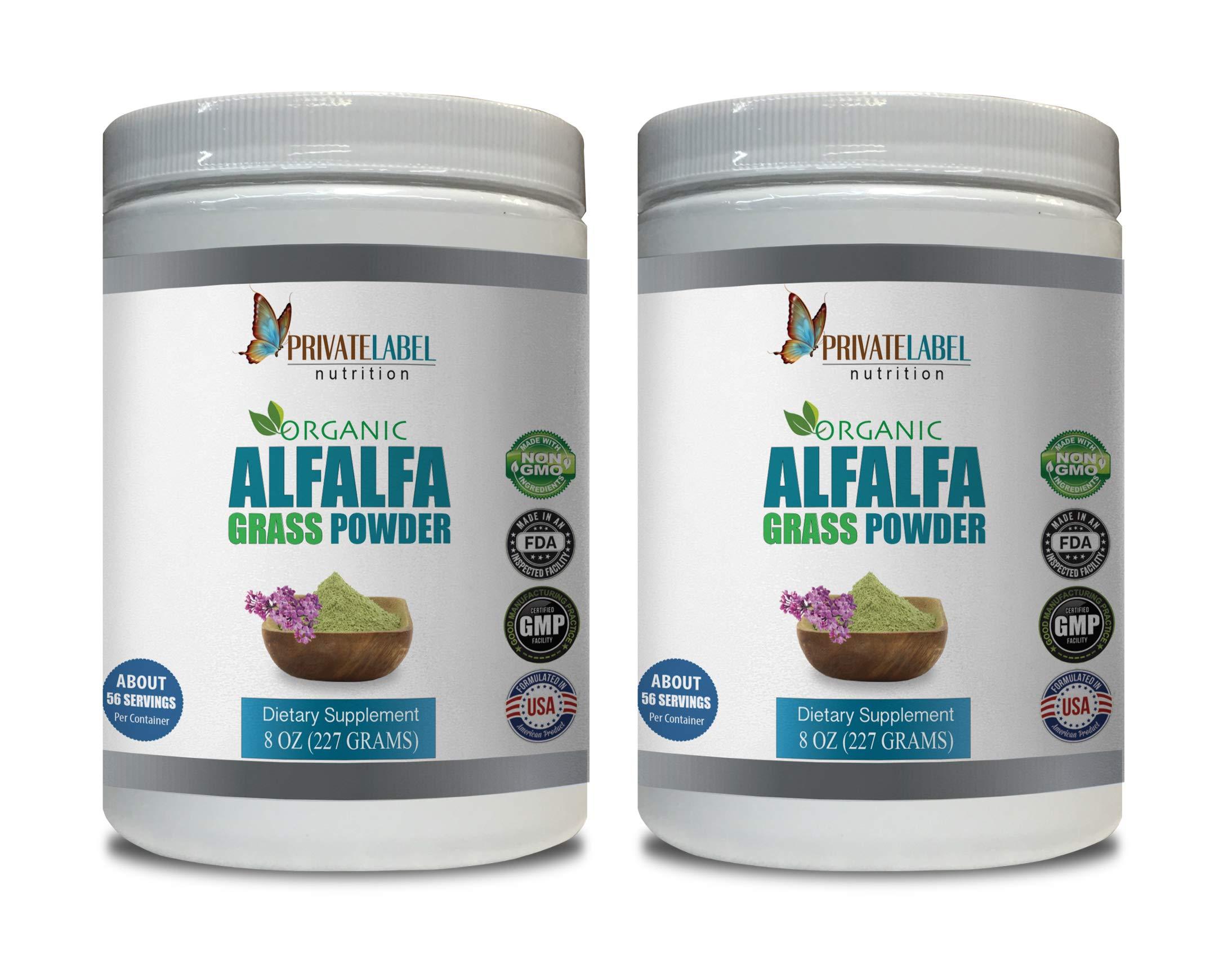 antioxidant Powder Supplement - Alfalfa Grass Organic Powder - Alfalfa Grass Organic Powder - 2 Cans 16 OZ (112 Servings)