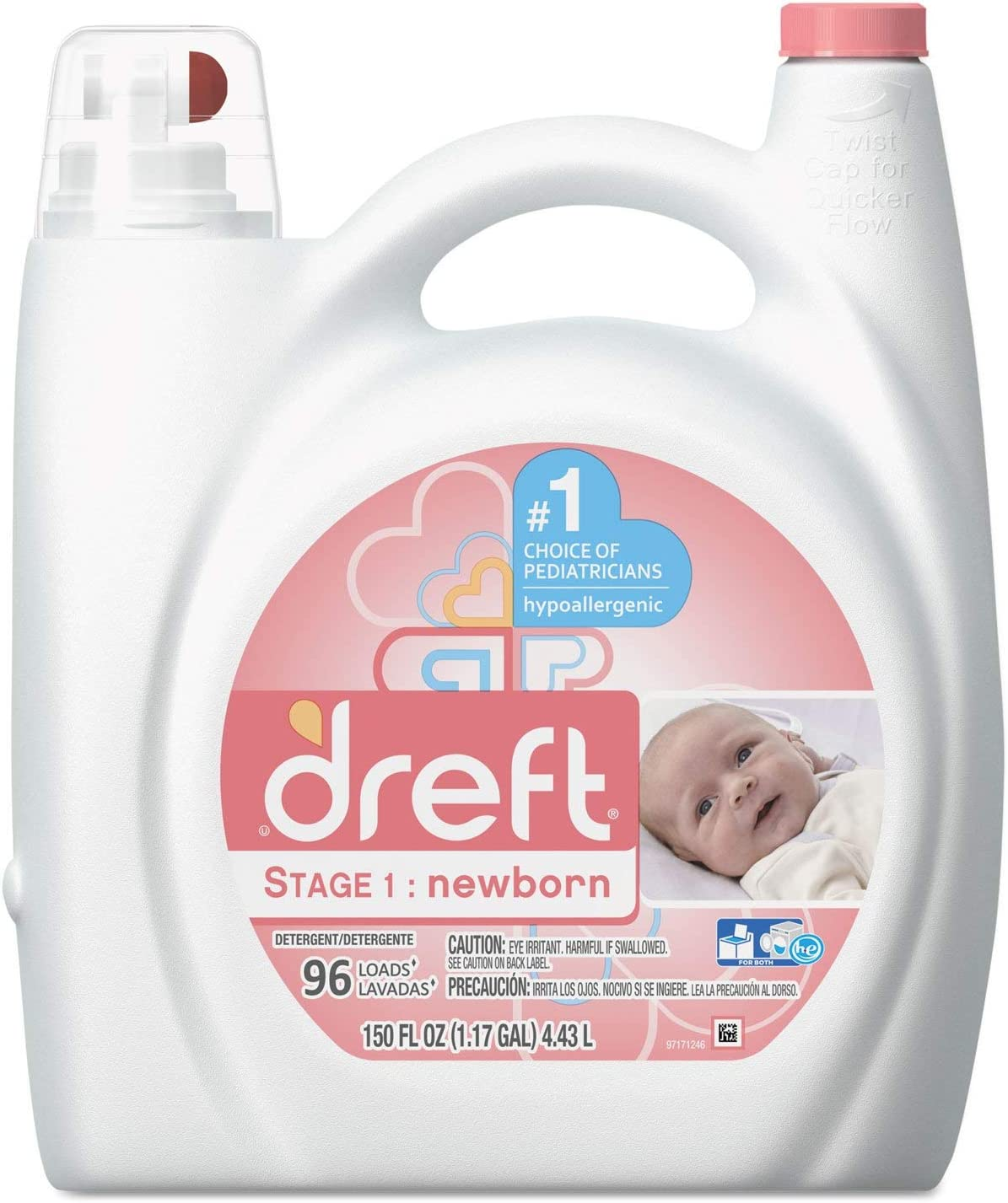 Dreft 80377EA Ultra Laundry Detergent Liquid Original Scent 150 oz Bottle