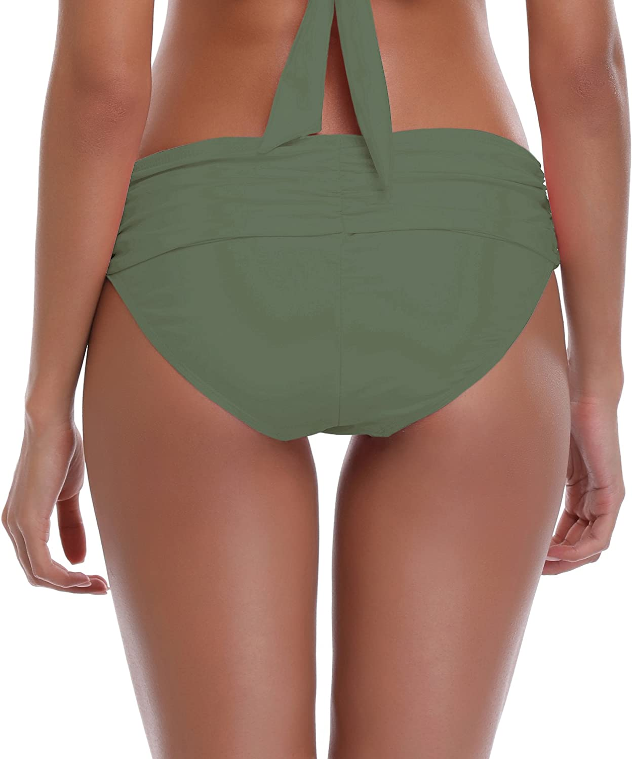 SHEKINI Womens Swimsuit Hipster Ruched High Waisted Bottoms