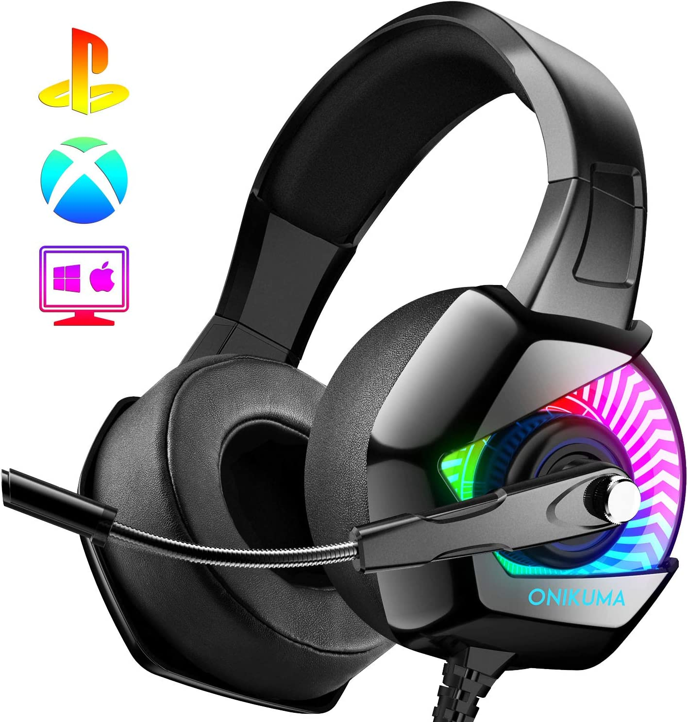 ONIKUMA Gaming Headset PS4 Headset with Mic, 7.1 Surround Sound & Blue Light Xbox One Headset,Gaming headphones PC Headset with Noise Canceling for