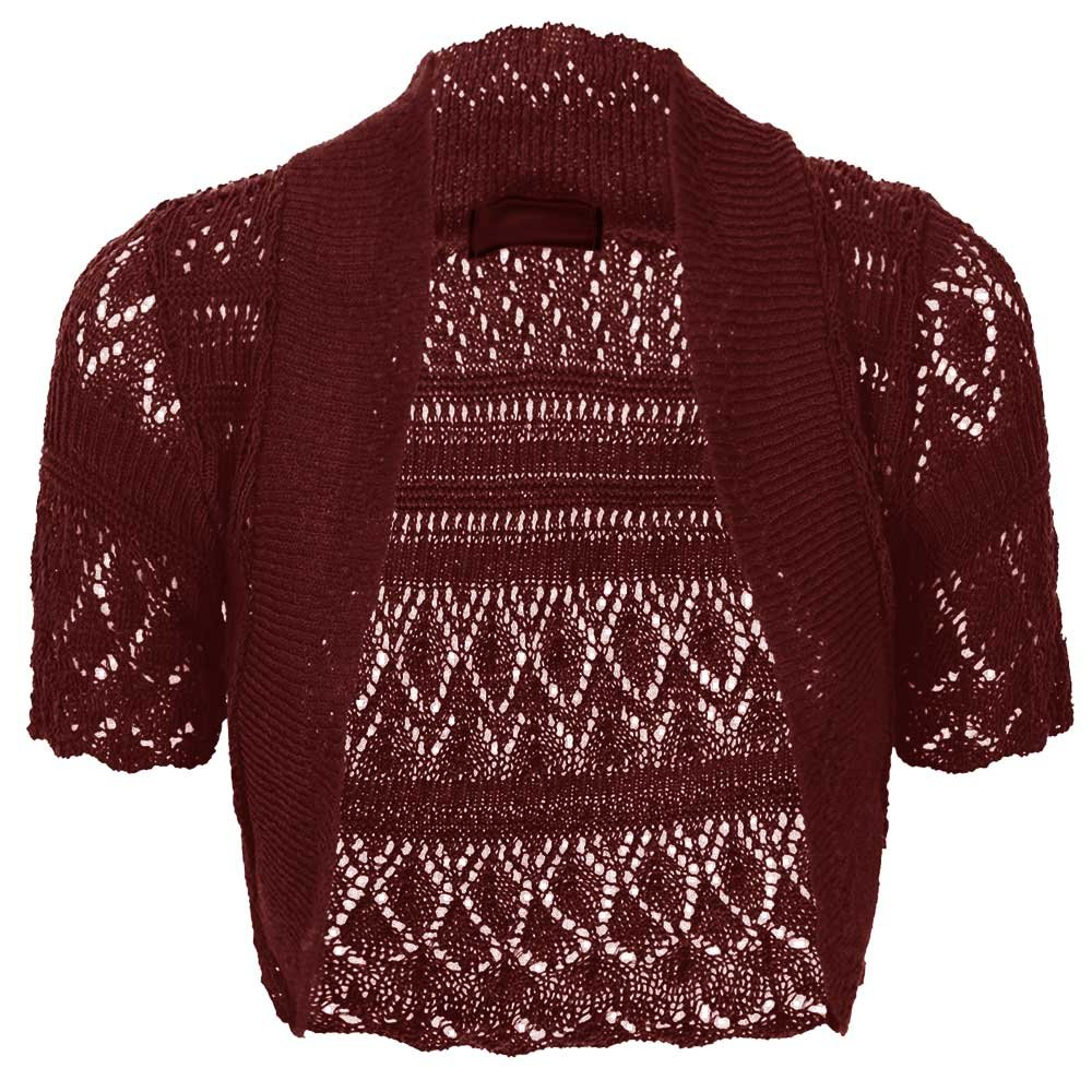 Baleza Women Short Sleeve Knitted Crochet Shrug Bolero Cardigan Ladies Crop Top