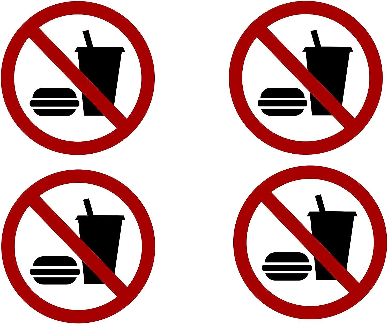 4 Pack No Food or Drinking Allowed Sticker Set Sign Warning 3x3 Inch Vinyl Decal Indoor Outdoor Window Door Business Retail Store