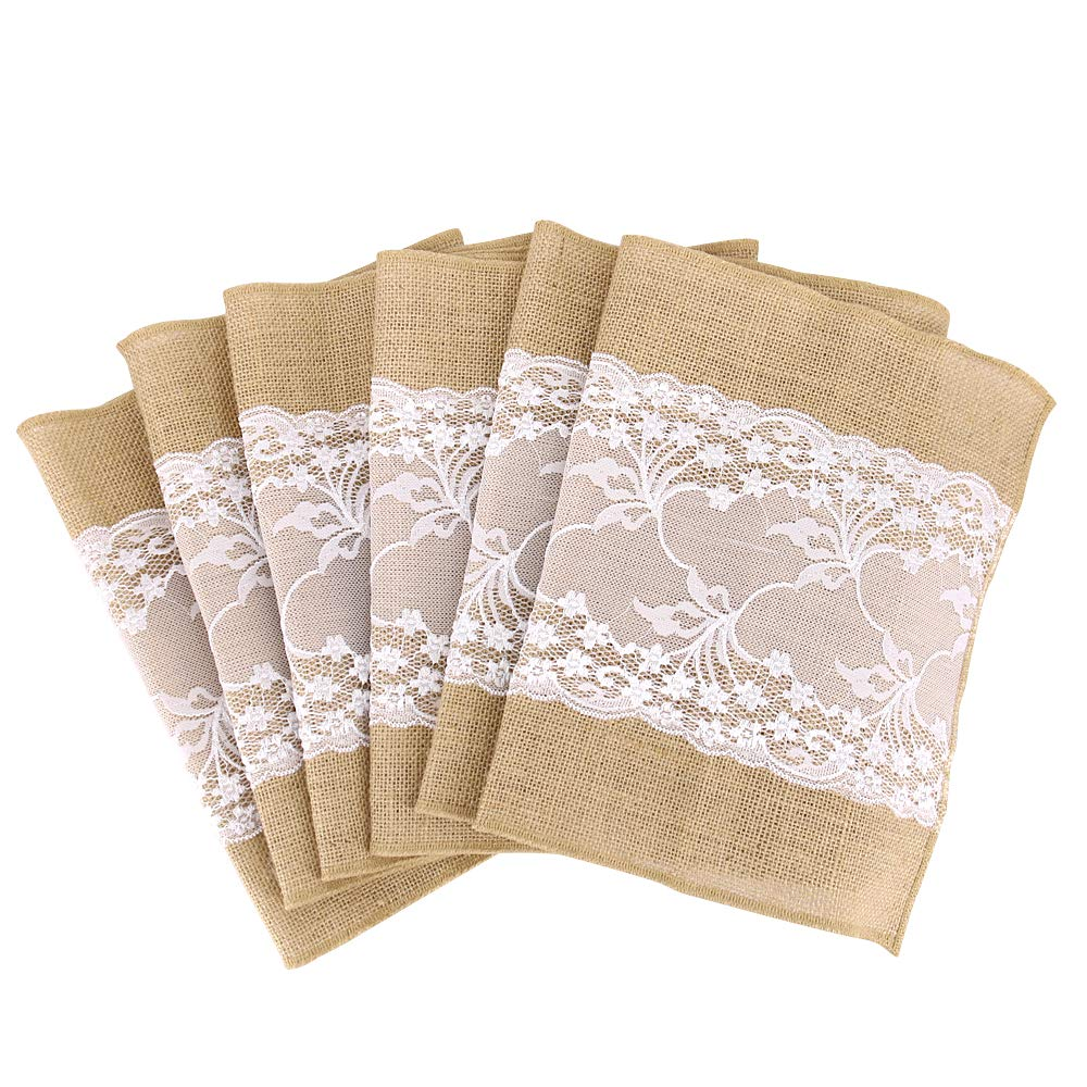 Time to Sparkle TtS 30x275cm Jute Hessian Table Runners Lace Rustic Burlap Sewed Edge Wedding festival party event decorations Jute Lace Middle