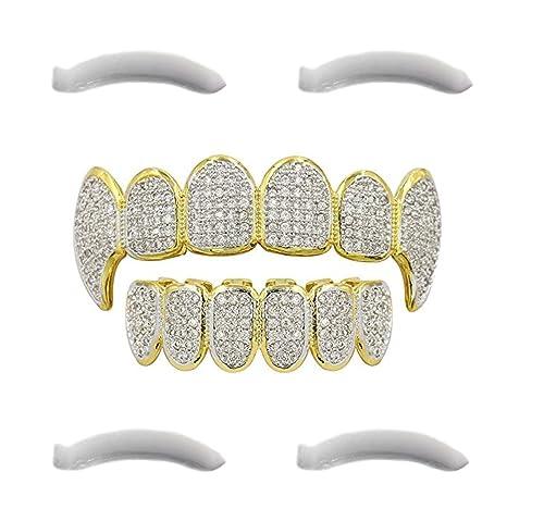 Funda para dientes chapada en oro de 24 kt con diamantes de circonitas cúbicashttps://amzn.to/31Do5ki