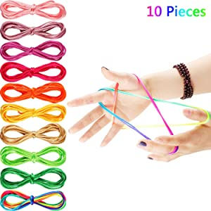 10 Pieces Cats Cradle String Finger Game String String Toy Supplies, 65 Inch Long, 10 Colors