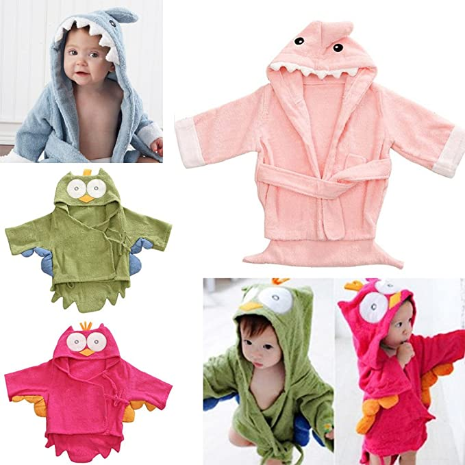 Albornoz con capucha para niños con diseño de pijama y animales, suaves y elegantes ciruela Talla:2-3 años: Amazon.es: Bebé