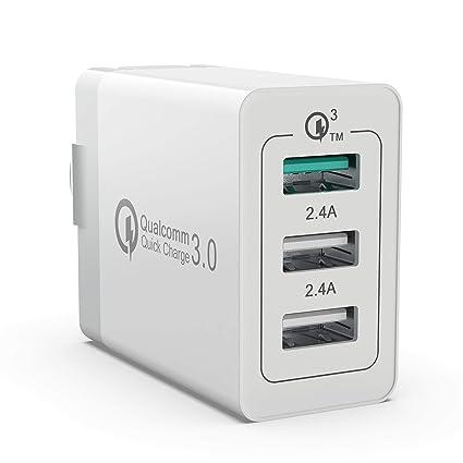 Amazon.com: Rápido Cargador De Pared 30 W Qualcomm 3 puertos ...