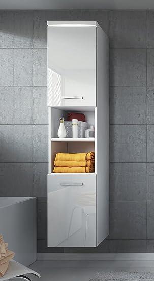 Badezimmer Schrank Paso 160 cm Hochglanz Weiß Fronten – Regal ...
