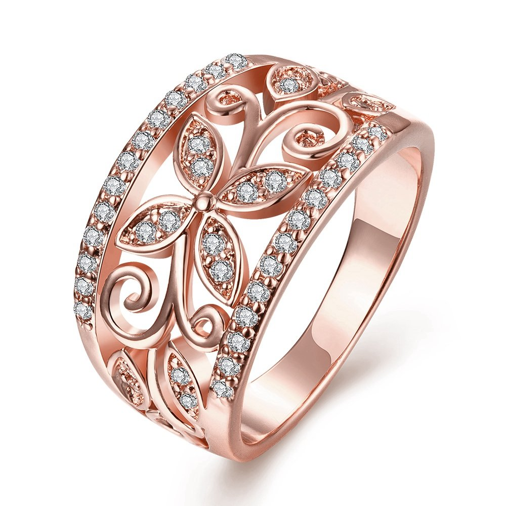 Haoze Women's Luxury Rose Gold Plated Cubic Zirconia Wedding Ring Gorgeous Flower Engagement Promise Ring A7XH-01