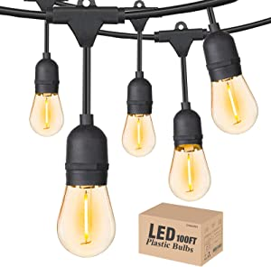 Outdoor String Lights LED 100FT with 30 Sockets 32 Shatterproof S14 Dimmable Plastic Vintage Edison Bulbs and Commercial Grade Waterproof Strand Light String Lights for Porch Market Cafe String Lights