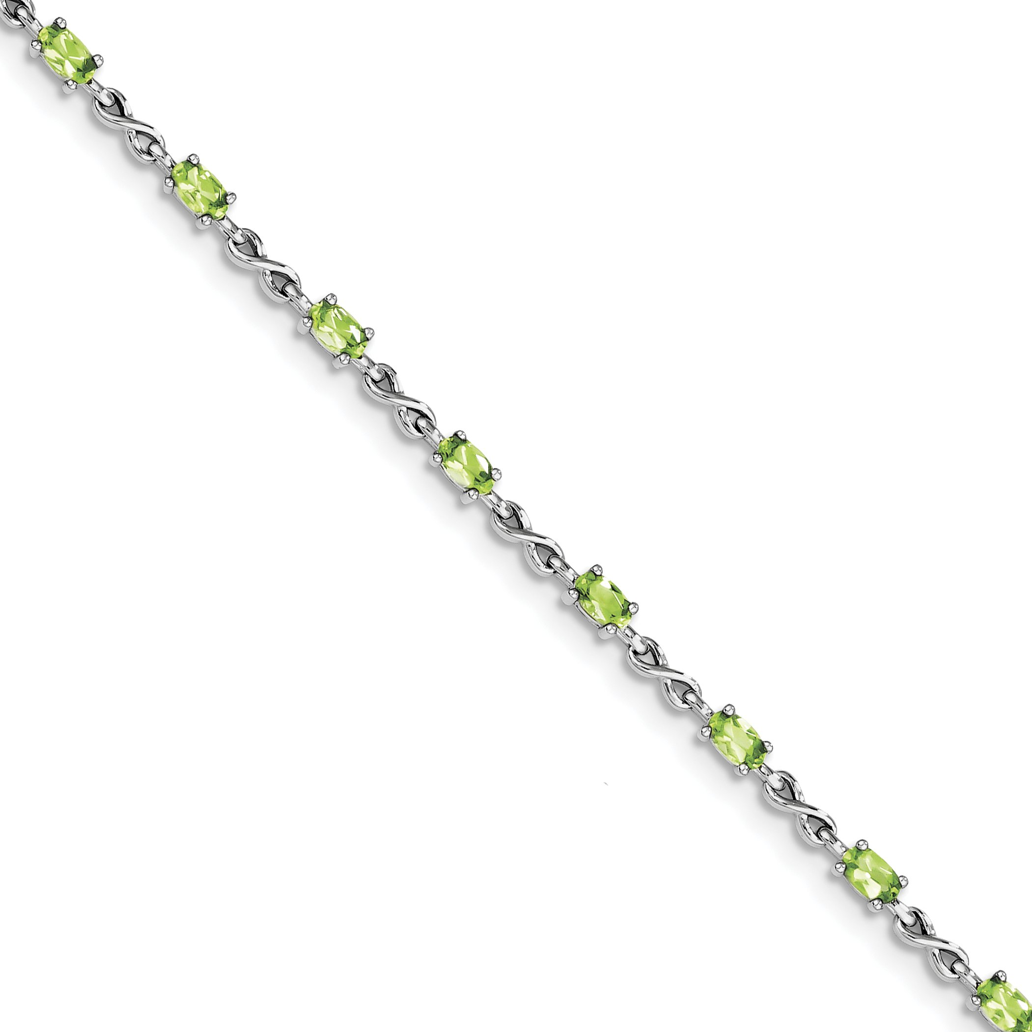 ICE CARATS 925 Sterling Silver Green Peridot Bracelet 7.50 Inch Infinity Gemstone Fine Jewelry Gift Set For Women Heart