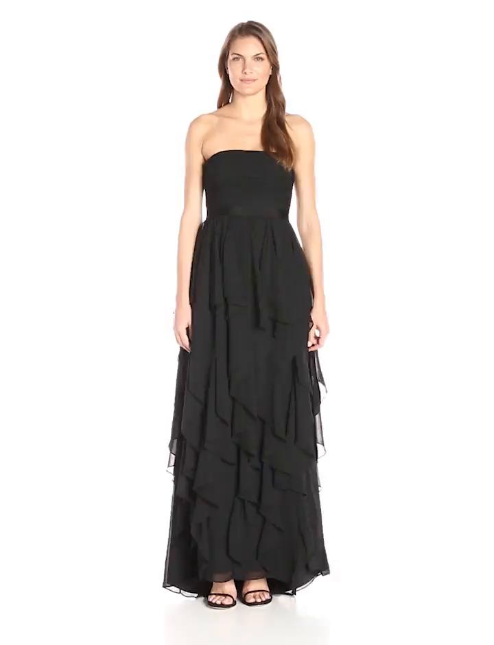Amazon.com: Adrianna Papell Women\'s Strapless Chiffon Ruffle Skirt ...