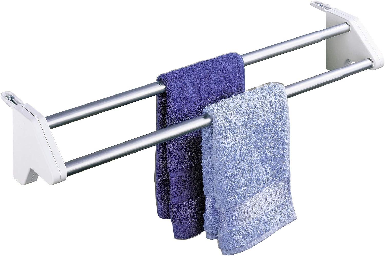 WENKO Secador de ropa para radiadores Twin - télescopique, Aluminio, 60 x 13 x 11.5 cm, Aluminio