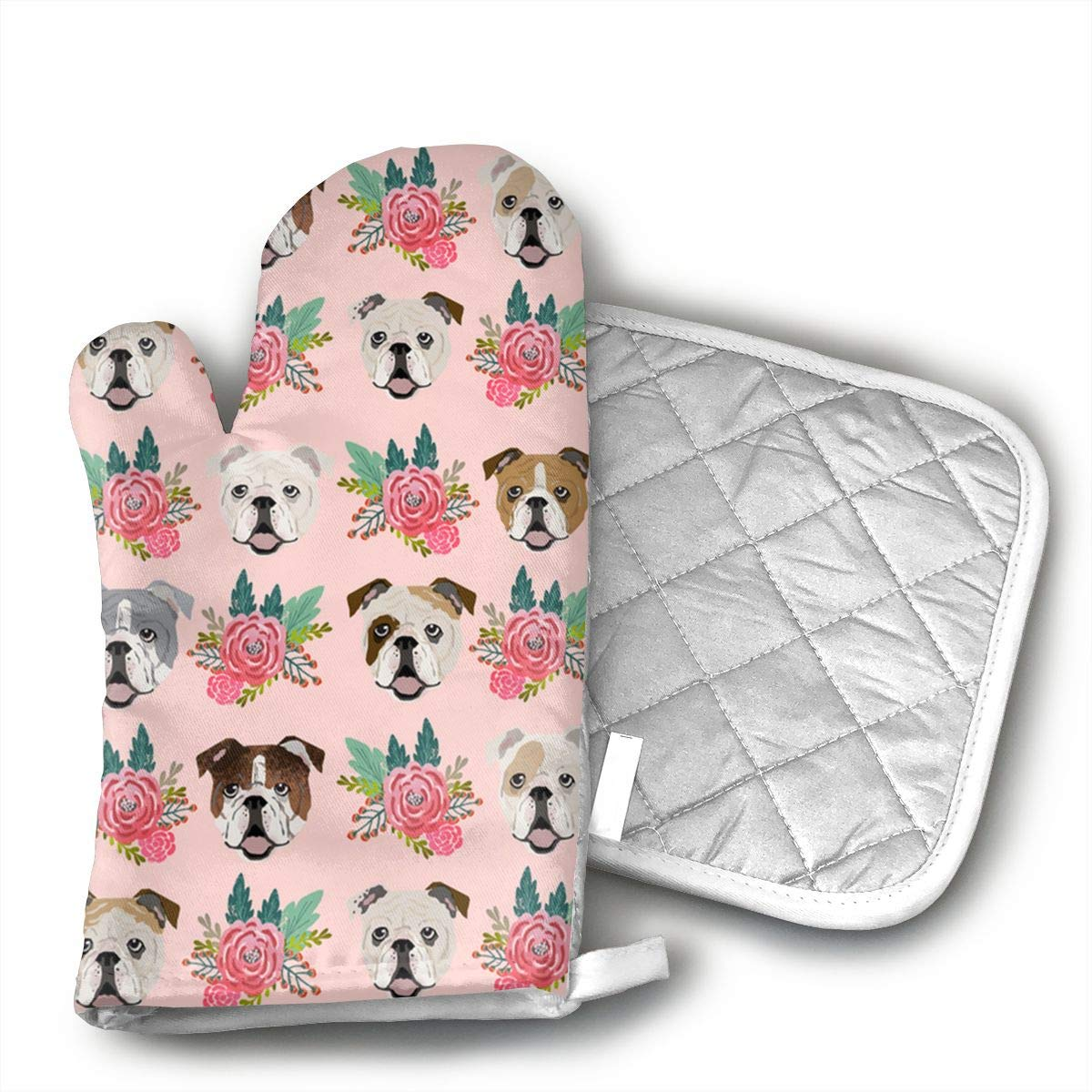 QEDGC English Bulldog Pink Florals Oven Mitts Kitchen Cooking Cotton Microwave Oven Gloves Mitts Pot Pad Heat Proof Protected Gloves