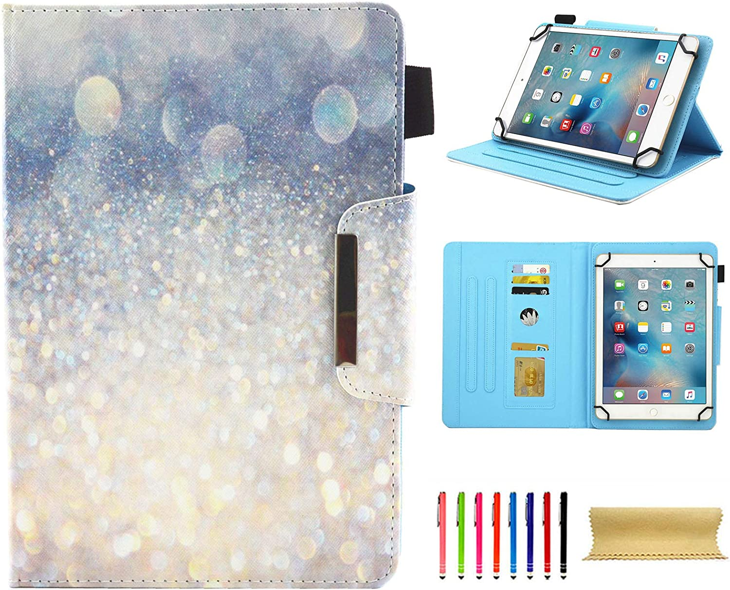 Universal Case for 7.0 Inch Tablet, Techcircle Slim PU Leather Stand Folio Wallet Case for Samsung Galaxy Tab E Lite, Acer Iconia One 7, Google/RCA and More 7-inch Android Tablet, Silver Sand