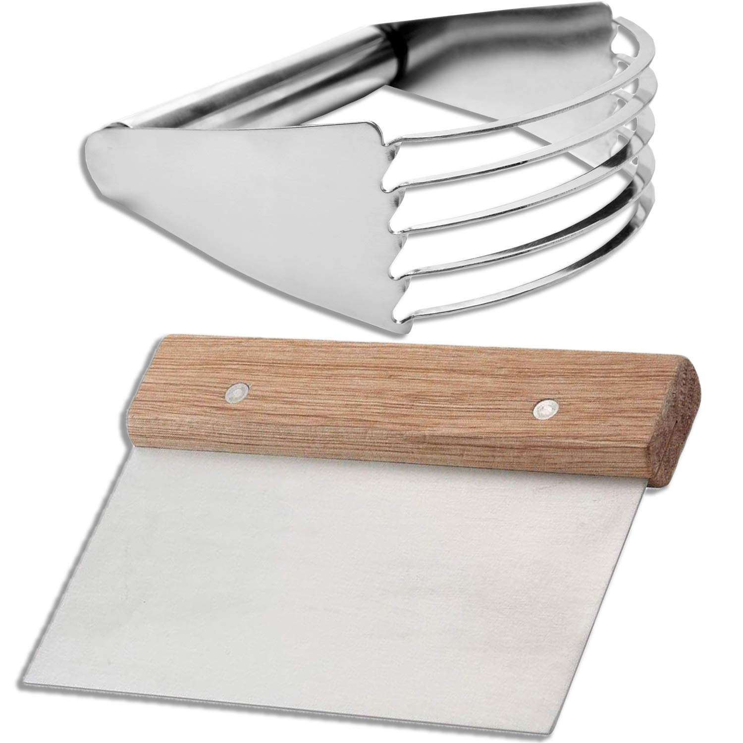 Pastry Cutter set - Dough Scraper and Blender Stainless Steel, Professional Quality Biscuit Blender, pie cutter, Heavy Duty Kitchen Baking Tools, for commercial and home use. by HeroFiber
