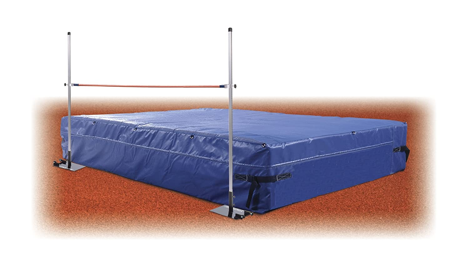 Track & Field High Jump Mat Value Package 6'D X 12'W X 24' H - Includes High Jump Standards, Weather Cover & Official Crossbar Track Star Sports