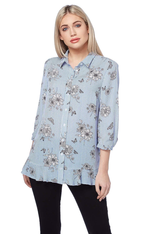 Roman Originals Womens Blue 3//4 Sleeve Floral Print Blouse