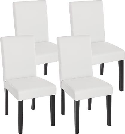 Mendler Lot de 4 chaises de séjour Littau, Simili Cuir, Blanc Mat, Pieds foncés