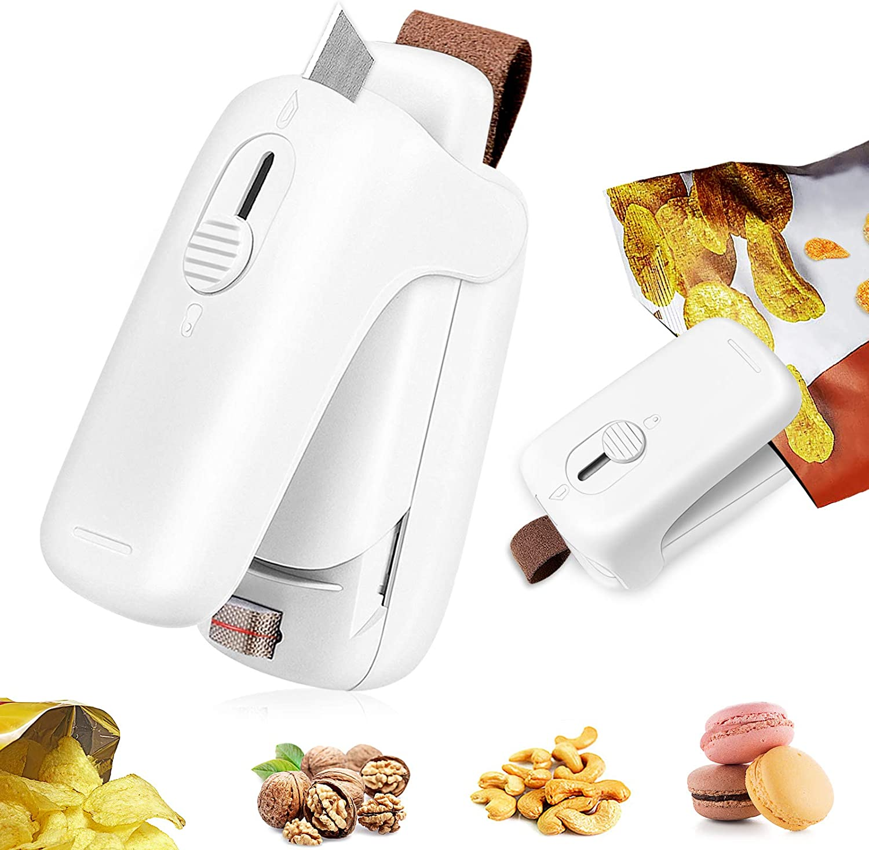 Desihum Mini Bag Sealer,Portable Chip Bag Sealers Heat Seal and Cutter 2 in 1 Heat Sealer Handheld Mini Sealing Machine Household Plastic Snack Bag Resealer For Food Storage Keep Fresh Chip Saver,White (Battery Not Included)
