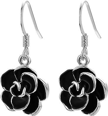 Boucles d/'oreilles pendantes de cristal de rose rouge de fleur de crochet BB