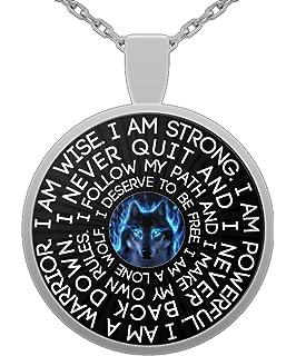 Amazon i am wolf native american spirit wolf head pendant lone wolf native american spirit wolf head pendant necklace inspirational gift for men aloadofball Choice Image