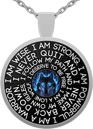 """Pendant Necklace /""""I am Wolf/"""" Native American Spirit Wolf Head Pendant Necklace I Never Back Down Inspirational Gift for Men and Women I Am A Wolf I Never Quit I Am A Wolf Necklace"""