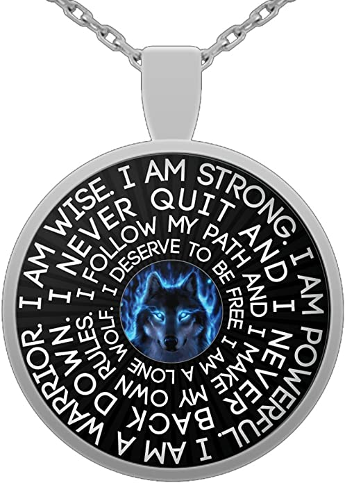 Native Never Back Down Wolf Lover Inspirational Gift Never Quit Be The Wolf Wolf Pendant Necklace