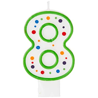 Creative Converting CANDLE-4567 Polka Dot 8 Numeral Candle, 3-Inch x 1.5-Inch: Birthday Candles: Kitchen & Dining