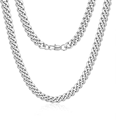 Jewlpire Diamond Cut Miami Mens Cuban Link Chain Necklace, Gold Chain   Silver Chain for Men Boys Women, Hip-Hop & Cool Style, 18K Gold Plated Stainless Steel Jewelry, 4/6/10mm, 18/20/22/24/26/30 Inch