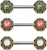 ~ Gift Boxed ~ nipple bar barbell 1.6mm Opal Glitter round filigree 14mm. Choose White, Green, Pink Antique gold plated