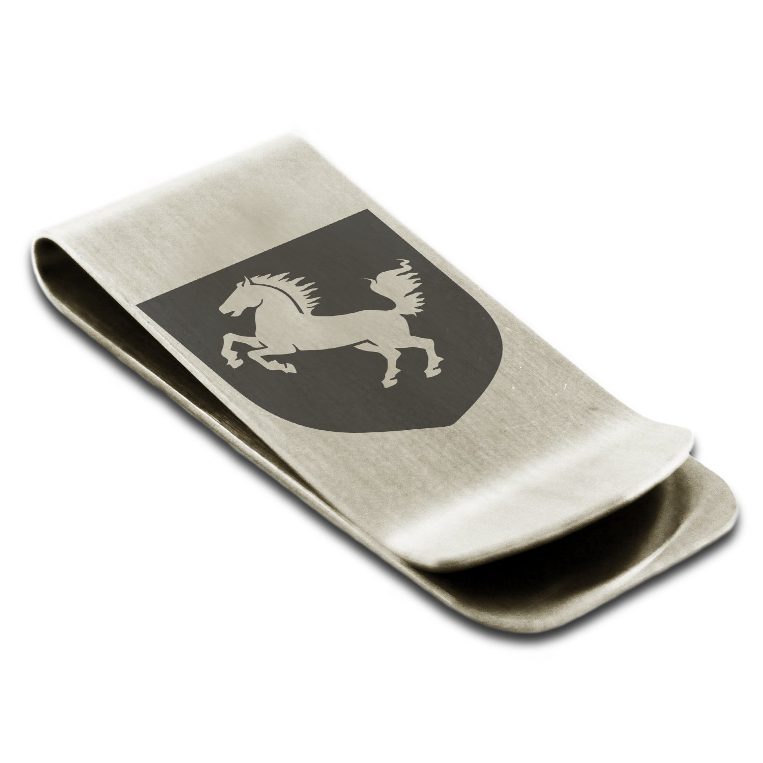 Stainless Steel Horse Battle Coat of Arms Shield Symbol Engraved Money Clip Credit Card Holder
