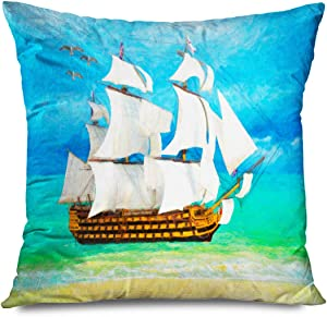 "Onete Throw Pillow Cover Square 20""x20"" Blue Ahoy Sailboat Near Beach On Sunny Day Miscellaneous Admiral Green Beautiful Black Beard Sky Decorative Zippered Pillowcase Home Decor Cushion Case"